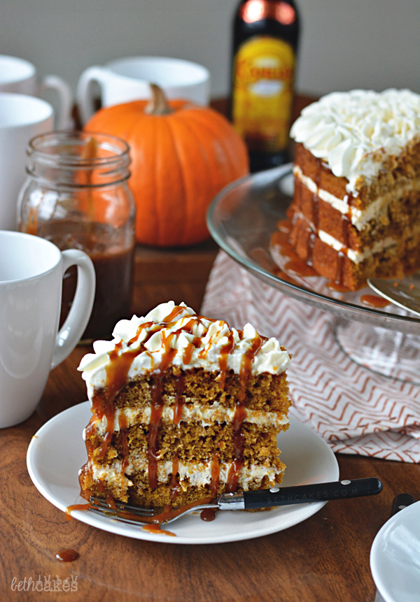 Pumpkin Spice Latte Cake with Spiced Buttercream, Whipped Cream, and KAHLUA Caramel Sacue! bethcakes.com