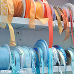 Jane Means spools of ribbon