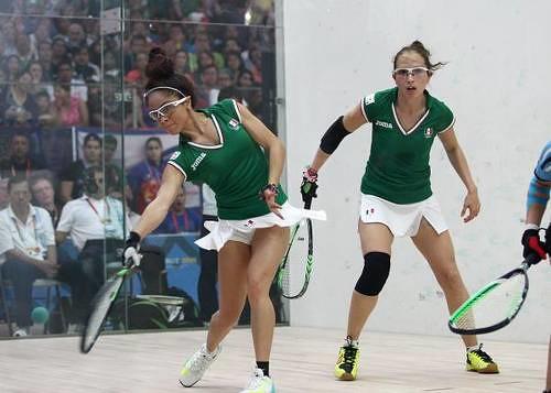 Paola Longoria y Samantha Salas superaron en dobles 15-9, 12-15 y 11-9 a la pareja de Rhonda Rajsich y María José Vargas Foto Conade