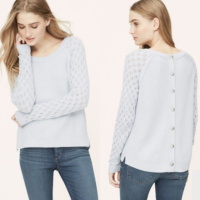 LOFT POINTELLE BUTTON BACK SWEATER