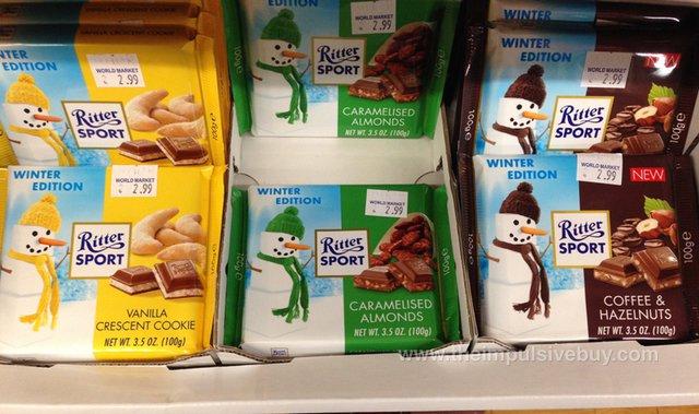 Ritter Sport Winter Edition Vanilla Crescent Cookie, Caramelised Almonds, Coffee & Hazelnuts