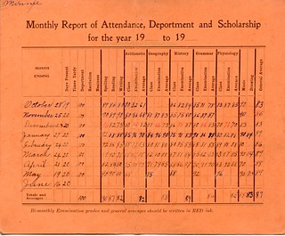Minnie Rossow report card 1910-11.
