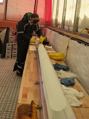 Bagging freshly-drilled ice cores.