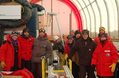 Group picture after drilling/collecting the first ice core with the Intermediate Depth Drill.