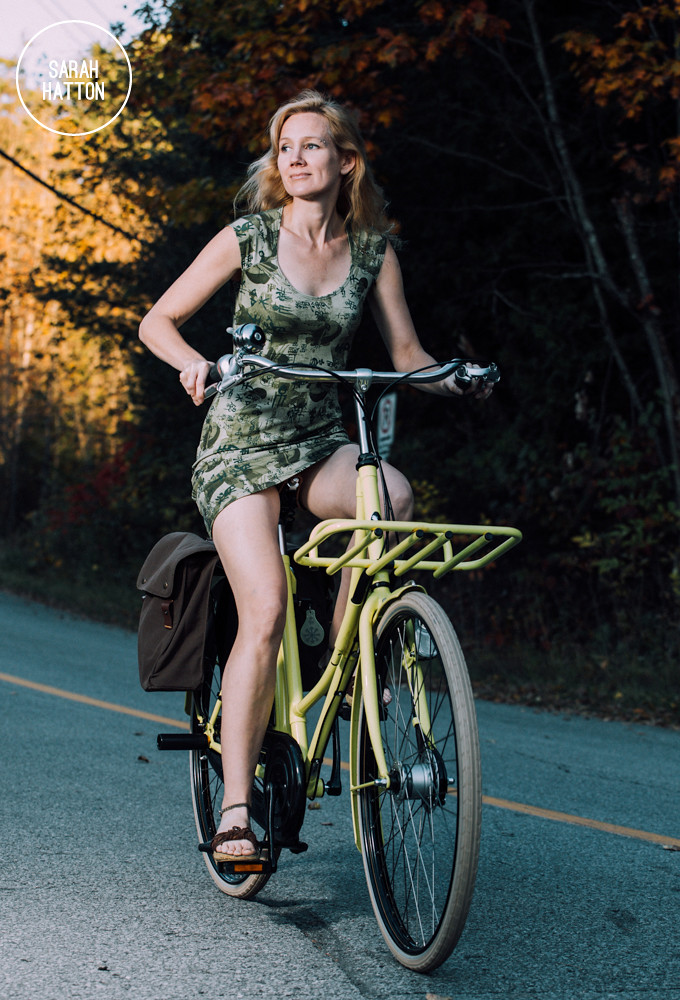 Sarah Hatton riding her bicycle