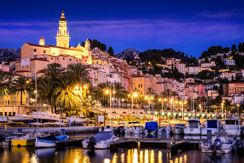 old blue church saint night port sunrise french town riviera cote michel eglise azur menton vieille basilic vilel balisique