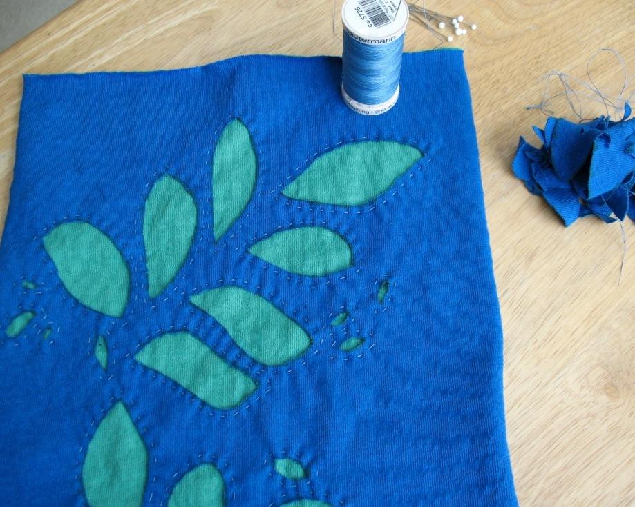 Applique hand work: guipure trim lace applique copper flora hand