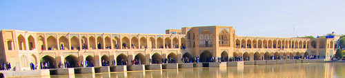 old bridge blue sky water river landscape iran persia historical ایران isfahan اصفهان خواجو پل