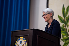 Under Secretary of State for Political Affairs Wendy Sherman addresses reporters during her visit to Tokyo, Japan, on January 30, 2015. [State Department photo by William Ng/ Public Domain]