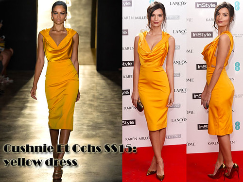 Emily Ratajkowski in yellow Cushnie Et Ochs SS15 dress