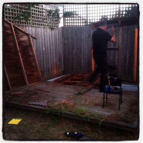 End of an era. Fixit has demolished the cubby house. I'm a little bit sad about it, but it had to be done.