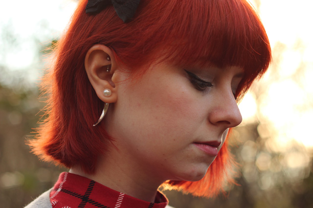 Pearl and Spike Earring with Earring Jacket, Rook Piercing, and Bright Red Hair