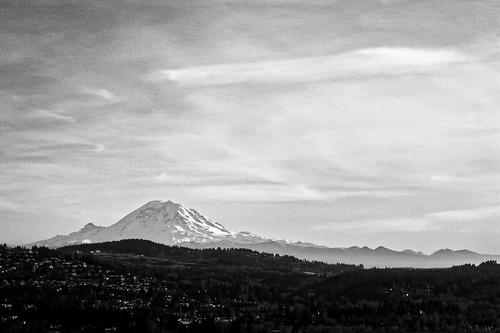 seattle sky blackandwhite mountain clouds landscape washington mountrainier pacificnorthwest bellevue
