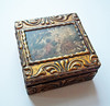 Vintage Florentine Gold-Gilt Gesso-Decorated Wooden Trinket Box w/ Romantic Painting