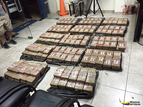 300 paquetes cubiertos con cinta de embalaje café y metidos en 14 sacos de yute negro dio un peso aproximado de 332.362 gramos de cocaína.