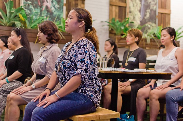 breathing exercises at mindful mom re-treat