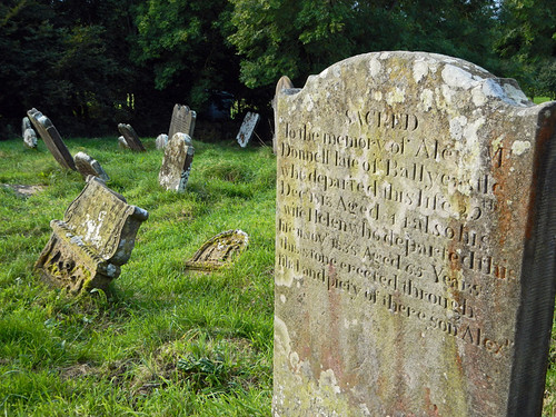 Grave stones at the cemetery at the Bonamargy Friary in Ballycastle, Ireland, UK