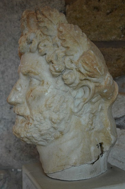 Head of a cuirassed statue of Hadrian, found at the Sancturary of Diktynna (Diktynnaion) in 1913, Chania Archaeological Museum, Crete