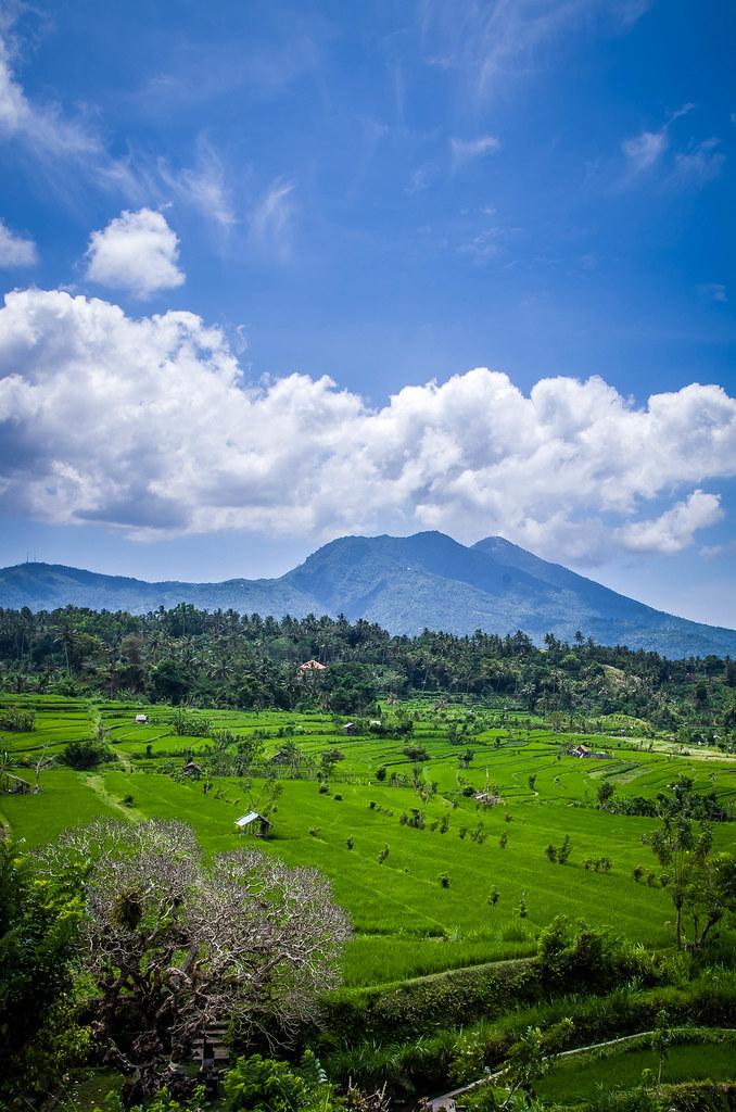 Montagne : Nuage du Sommet Bleu et Vert Rizière