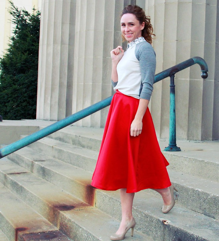 red midi skirt modest outfits