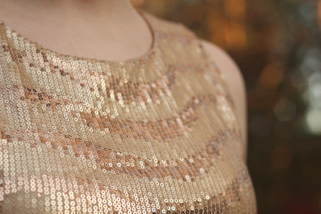Detailing of Gold Sequined Shirt from Forever 21