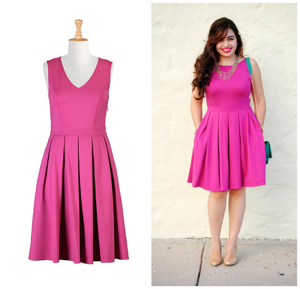 eShakti Hot Pink V Neck Ponte Dress
