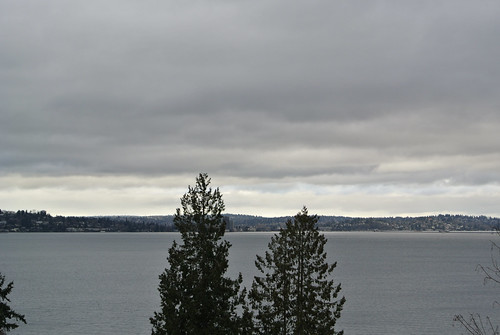 Rainy Winter Ride - Looking back at Seattle from Mercer Island