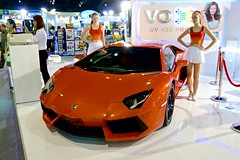Grumpy models with a Lamborghini at the 31st Thailand International Motor Expo