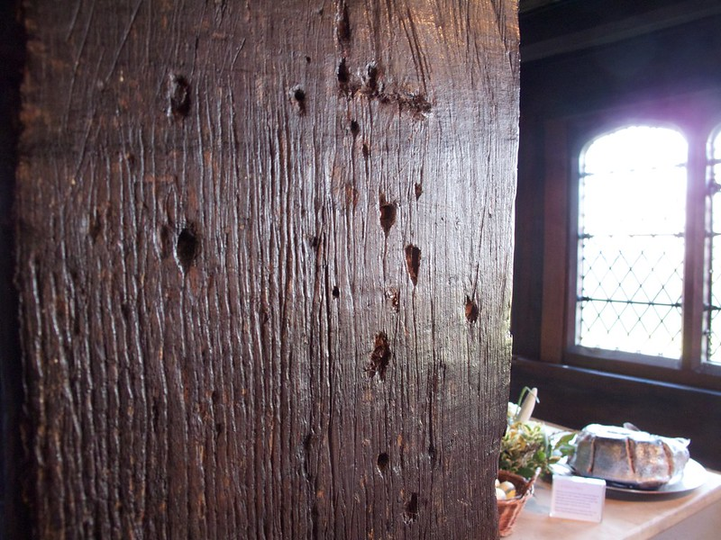 Marks in a wooden beam made by rush lights, Queen Elizabeth's Hunting Lodge