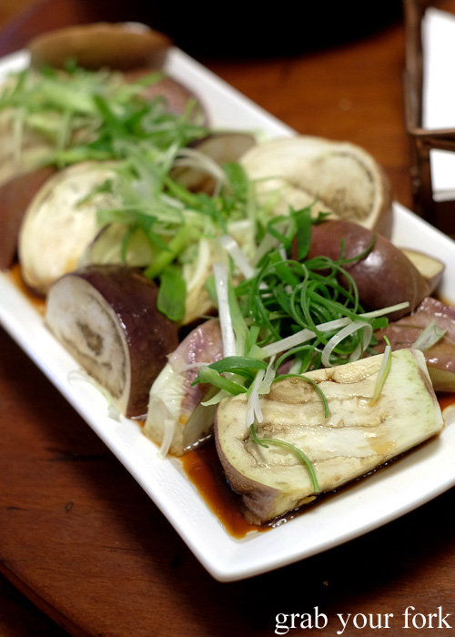 Steamed eggplant with soy and shallots