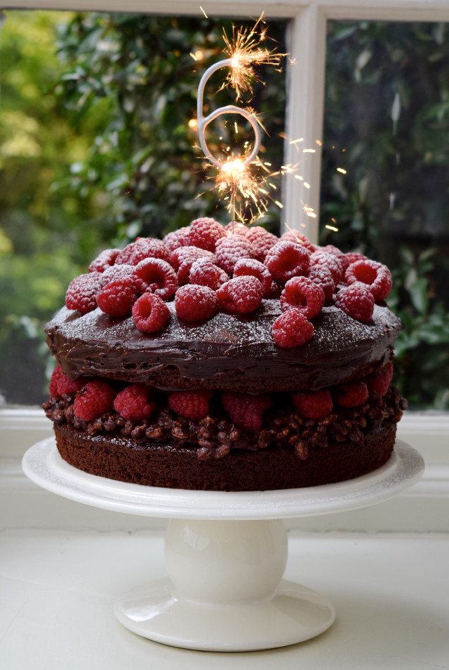 6 Years Of Blogging Chocolate Ganache Raspberry Crunch Cake