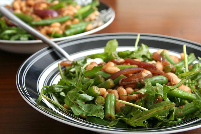 arugula green beans white beans