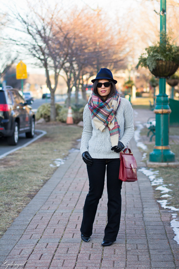 grey sweater, plaid scarf, wool fedora.jpg