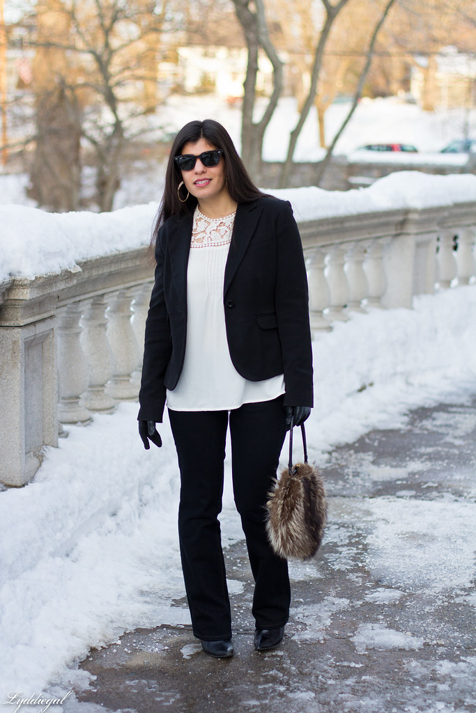 white blouse, black blazer, fur ball bag-2.jpg