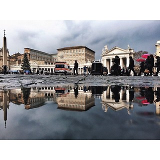 My daily Reflection, today urban life around Piazza San Pietro, Rome, reflected on a puddle... Good night! . IPhone 6 #Snapseed #VSCOcam #Filterstorm . Please visit ulule.com/artmobile if you want our #ARTmobile project to become a reality. @artmobile_