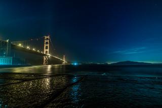 Golden Gate Bridge in a Starlit Sky