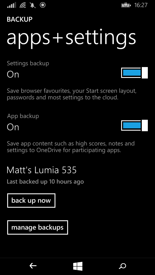 Settings backup options