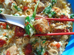 SPICY SAUSAGE AND SPINACH CONGEE