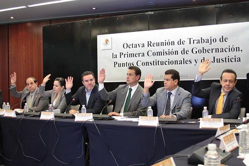 El día 19 de julio del 2016 se llevó a cabo en el Senado de la República la octava reunión de trabajo de la Primera Comisión de Gobernación, Puntos Constitucionales y de Justicia.