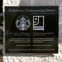 I have never seen one of these signs at any other Starbucks I've visited. #starbucks #veteranscommunitystore #coffee #veterans #latergram