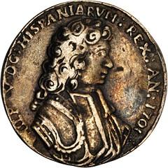 Lot 1002. MEXICO. Veracruz. Cast Silver Proclamation Medal, 1701 obverse