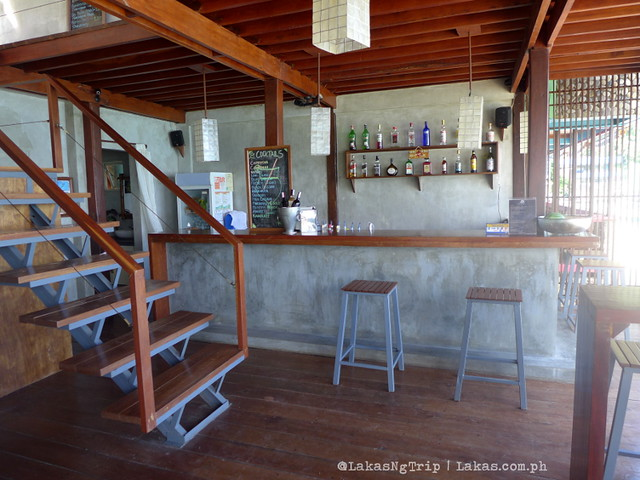 The stairs and the bar at Mezzanine Restobar in El Nido, Palawan, Philippines