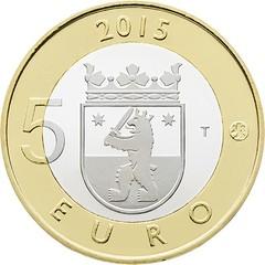 Finland 5 euro Coin on Satakunta Province reverse