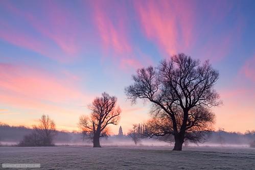 cambridge england sunrise dawn unitedkingdom pastel meadows cambridgeshire grantchester