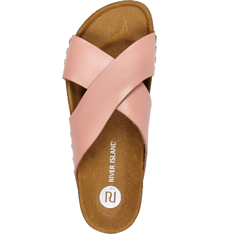 Light Pink Cross Strap Mule Sandals