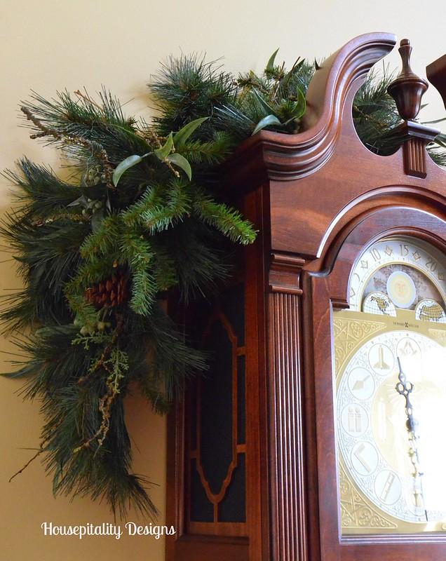 Garland over Grandfather Clock-Housepitality Designs