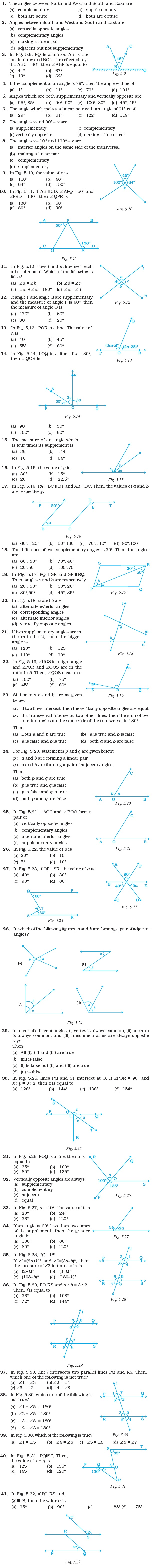 Class 7 Important Questions for Maths – Lines and Angles