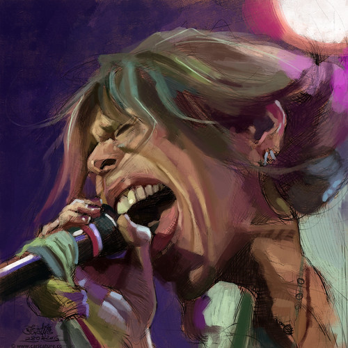 digital caricature sketch of Steven Tyler - 2