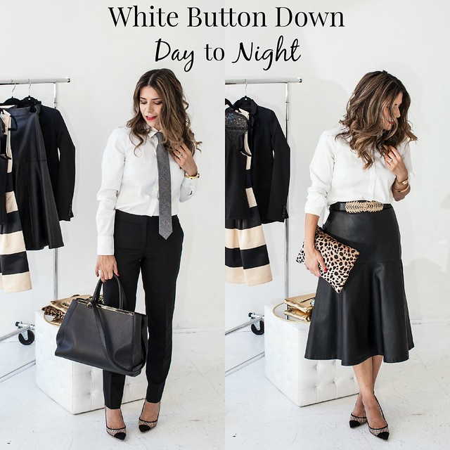 professional blogger corporate blogger what to wear to work how to wear a shirt two ways one piece two ways corporate catwalk Day Outfit: Ann Taylor White Button Down J.Crew Tie J.Crew Paley Trousers Kurt Geiger Sharkie Heels Fendi 2Jour   Night Outfit: Ann Taylor White Button Down Faux Leather Skirt Kurt Geiger Sharkie Heels Clare V Flat Clutch