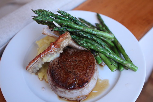 Bacon Wrapped Beef Tenderloin with Bairdi Crab Legs, Grilled Asparagus and Mashed Potatoes